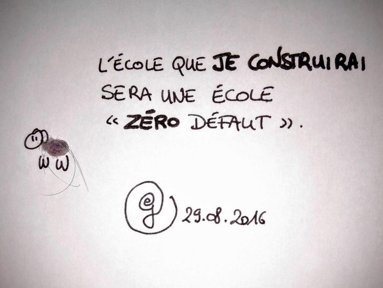 """29.08.16 : le mouton de poussière de nombril déclare : L'école que je construirai sera une école """"zéro défaut""""."""