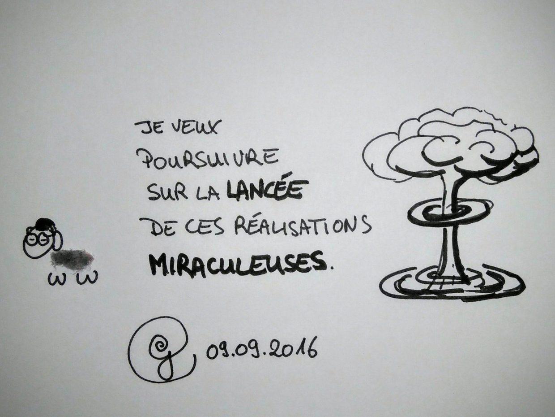 """ego 09.09.2016 : le mouton de poussière de nombrll déclare """"Je veux poursuivre sur la lancée de ces réalisations miraculeuses"""" à côté d'un champignon nucléaire."""