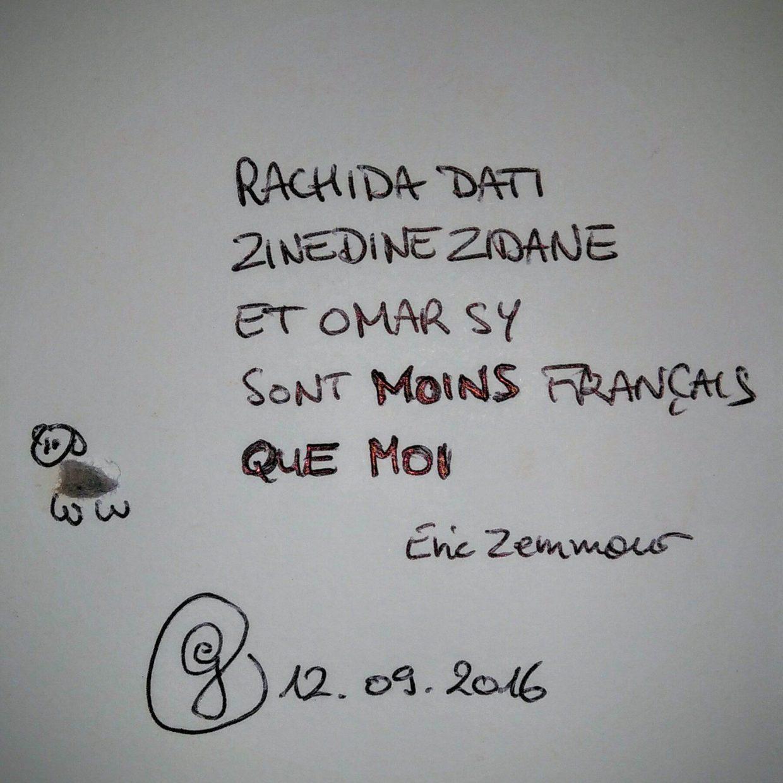 """ego 12.09.2016 : le mouton de peluche ombillicale déclare """"Rachida Dati, Zinedine Zidane et Omar Sy sont moins français que moi""""."""
